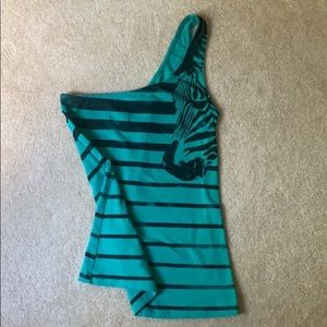 Green and black one shoulder tank top